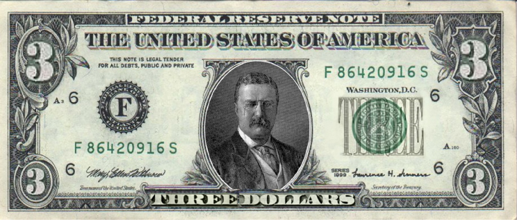 Image result for three dollar bill