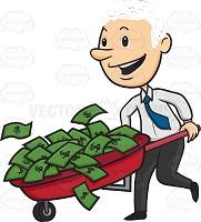 Man Happy Running With Wheelbarrow Full Of Green Money