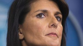 Nikki Haley, the U.S. ambassador to the United Nations, during a news briefing at the White House in Washington.