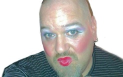 man lipstick-white background